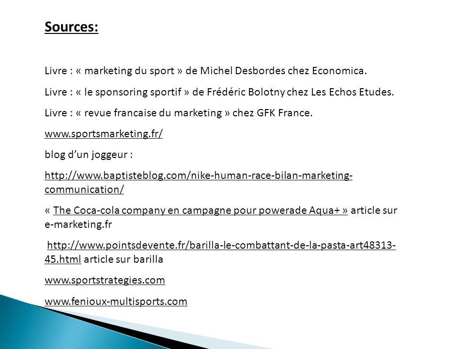 Sources: Livre : « marketing du sport » de Michel Desbordes chez Economica. Livre : « le sponsoring sportif » de Frédéric Bolotny chez Les Echos Etude