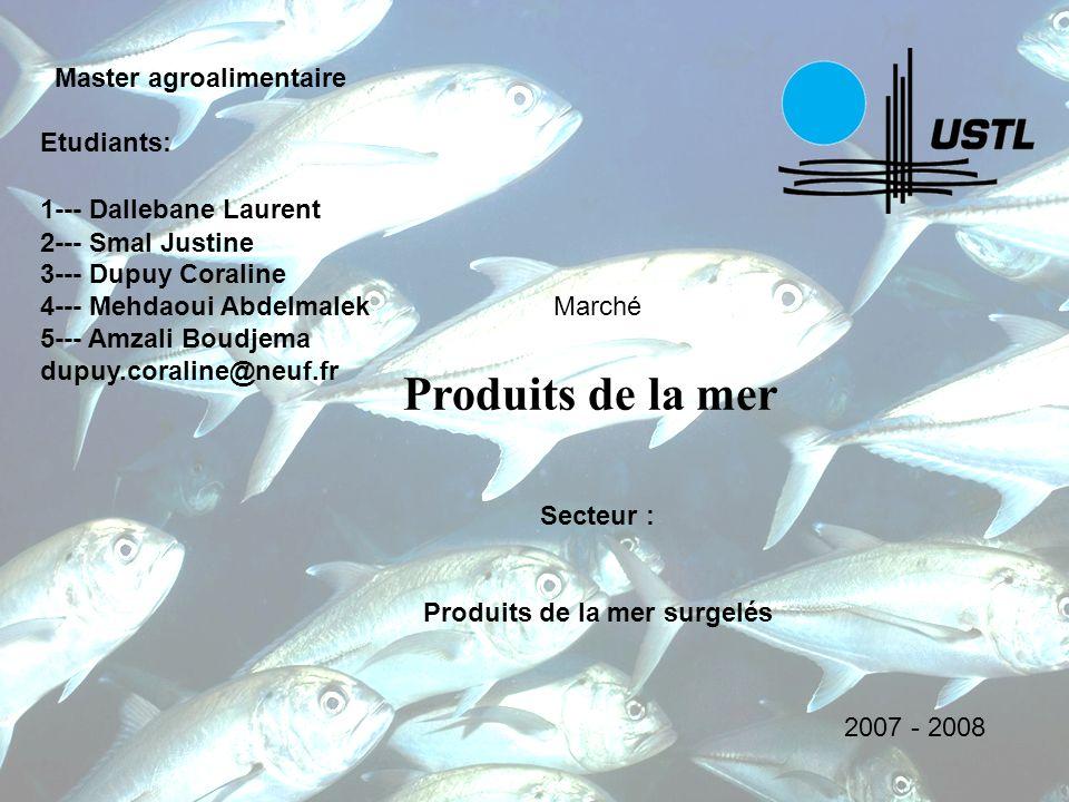 Marché Produits de la mer Master agroalimentaire Etudiants: 1--- Dallebane Laurent 2--- Smal Justine 3--- Dupuy Coraline 4--- Mehdaoui Abdelmalek 5---