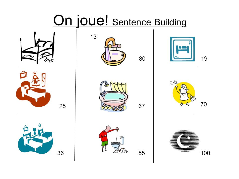 On joue! Sentence Building 13 25 36 80 67 55 19 70 100