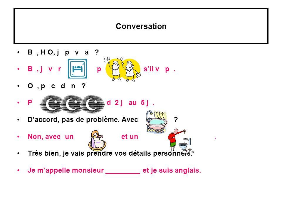 Conversation B, H O, j p v a ? B, j v r p sil v p. O, p c d n ? P d 2 j au 5 j. Daccord, pas de problème. Avec ? Non, avec un et un. Très bien, je vai