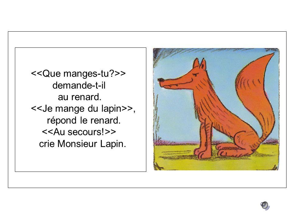 > demande-t-il au renard. >, répond le renard. > crie Monsieur Lapin.