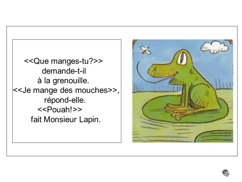 > demande-t-il à la grenouille. >, répond-elle. > fait Monsieur Lapin.