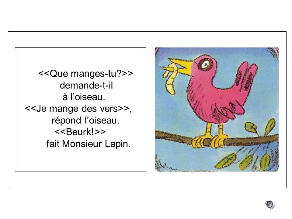 > demande-t-il à loiseau. >, répond loiseau. > fait Monsieur Lapin.