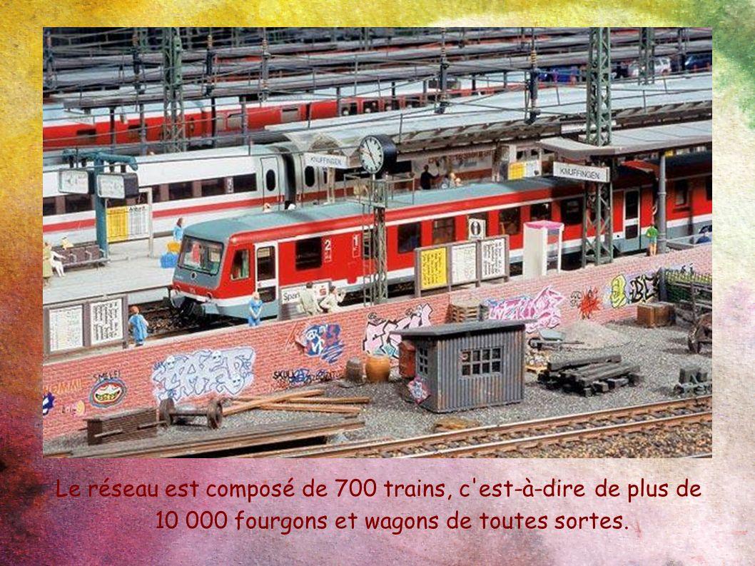 Le réseau est composé de 700 trains, c'est-à-dire de plus de 10 000 fourgons et wagons de toutes sortes.