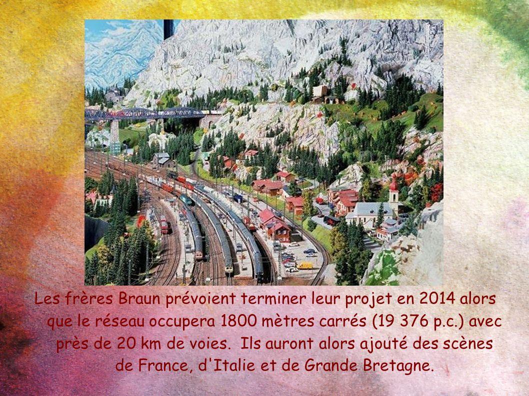Les frères Braun prévoient terminer leur projet en 2014 alors que le réseau occupera 1800 mètres carrés (19 376 p.c.) avec près de 20 km de voies. Ils