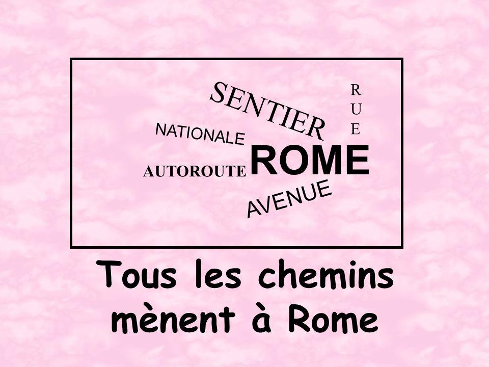 Tous les chemins mènent à Rome ROME RUERUE SENTIER NATIONALE AUTOROUTE AVENUE