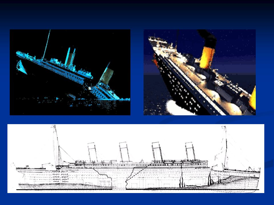 A 2h15 environ, alors que le Titanic affiche une inclinaison proche des 45°, il se fend entre la troisième et la quatrième cheminé. La partie avant s'