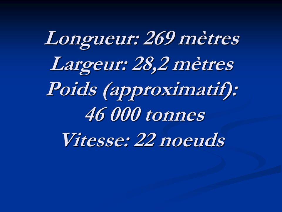 Longueur: 269 mètres Largeur: 28,2 mètres Poids (approximatif): 46 000 tonnes Vitesse: 22 noeuds