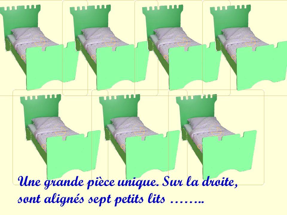 Une grande pièce unique. Sur la droite, sont alignés sept petits lits ……..