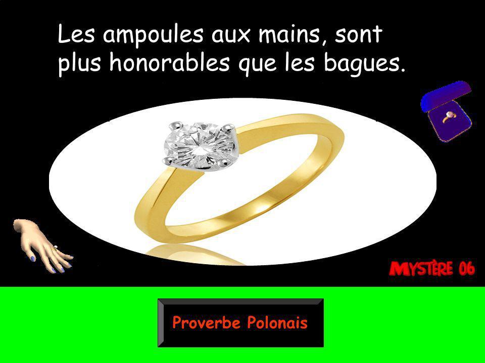 Proverbe Polonais Les ampoules aux mains, sont plus honorables que les bagues.