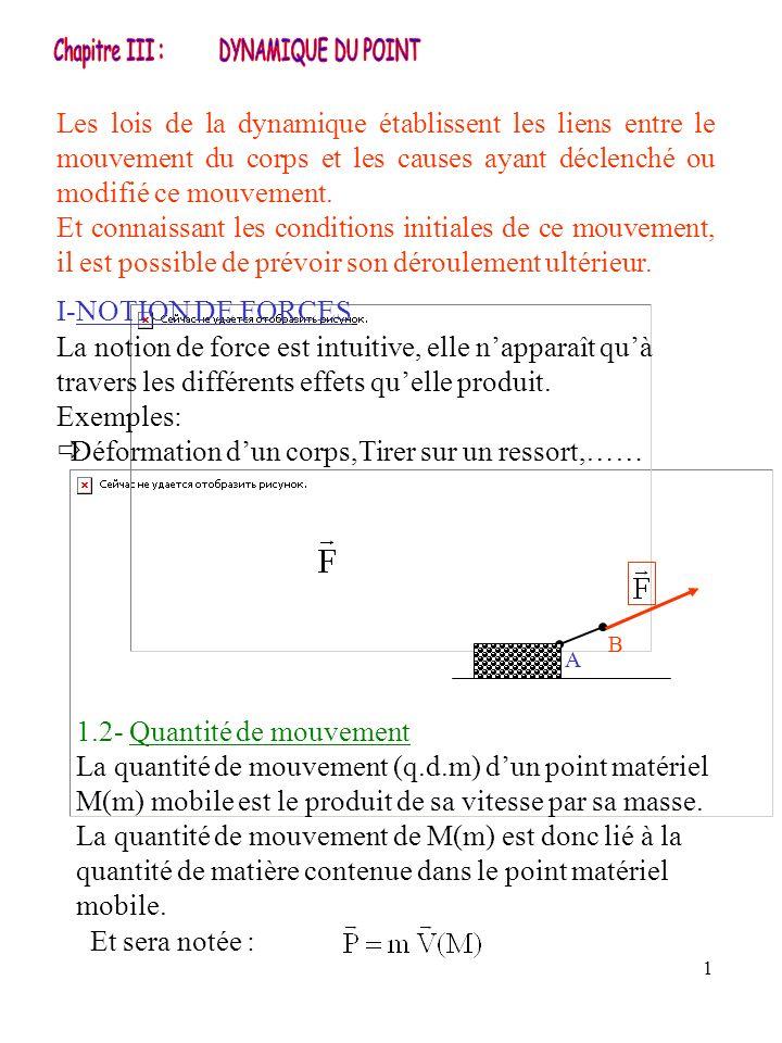 1 I-NOTION DE FORCES La notion de force est intuitive, elle napparaît quà travers les différents effets quelle produit. Exemples: Déformation dun corp