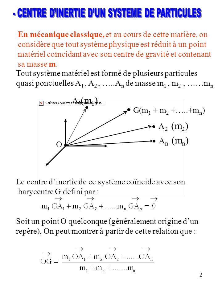2 En mécanique classique, et au cours de cette matière, on considère que tout système physique est réduit à un point matériel coïncidant avec son cent