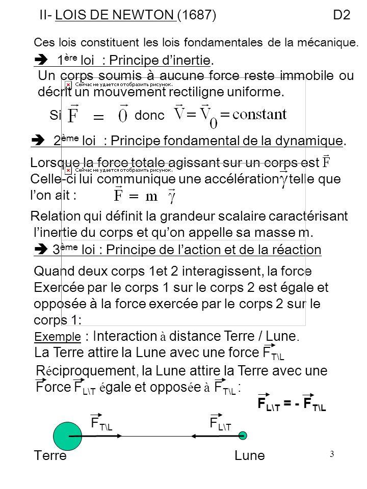 3 II- LOIS DE NEWTON (1687)D2 Ces lois constituent les lois fondamentales de la mécanique. 1 ère loi : Principe dinertie. Un corps soumis à aucune for