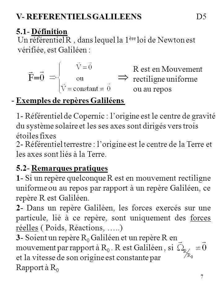 7 V- REFERENTIELS GALILEENS V- REFERENTIELS GALILEENS D5 5.1- Définition Un référentiel R, dans lequel la 1 ère loi de Newton est vérifiée, est Galilé