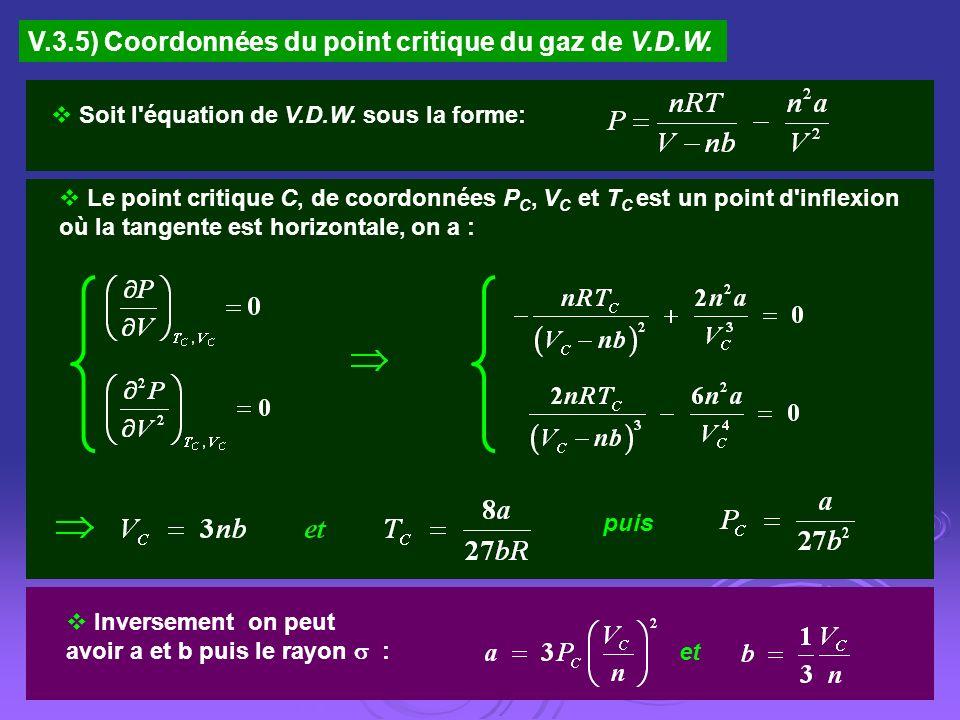V.3.5) Coordonnées du point critique du gaz de V.D.W. Soit l'équation de V.D.W. sous la forme: Le point critique C, de coordonnées P C, V C et T C est