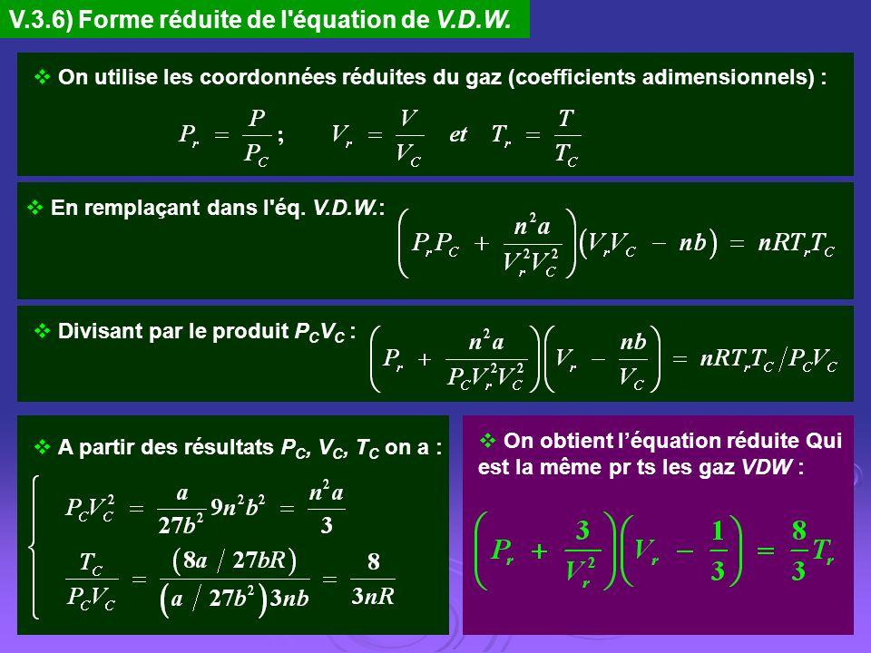 V.3.6) Forme réduite de l'équation de V.D.W. On utilise les coordonnées réduites du gaz (coefficients adimensionnels) : En remplaçant dans l'éq. V.D.W