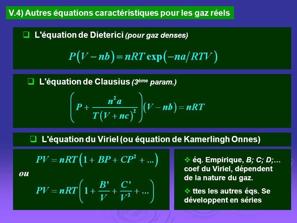 V.4) Autres équations caractéristiques pour les gaz réels L'équation de Dieterici (pour gaz denses) L'équation de Clausius (3 ème param.) L'équation d