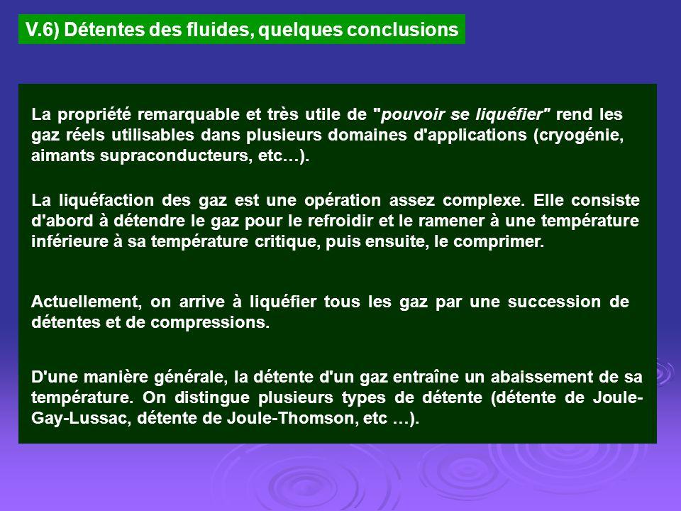 V.6) Détentes des fluides, quelques conclusions La propriété remarquable et très utile de