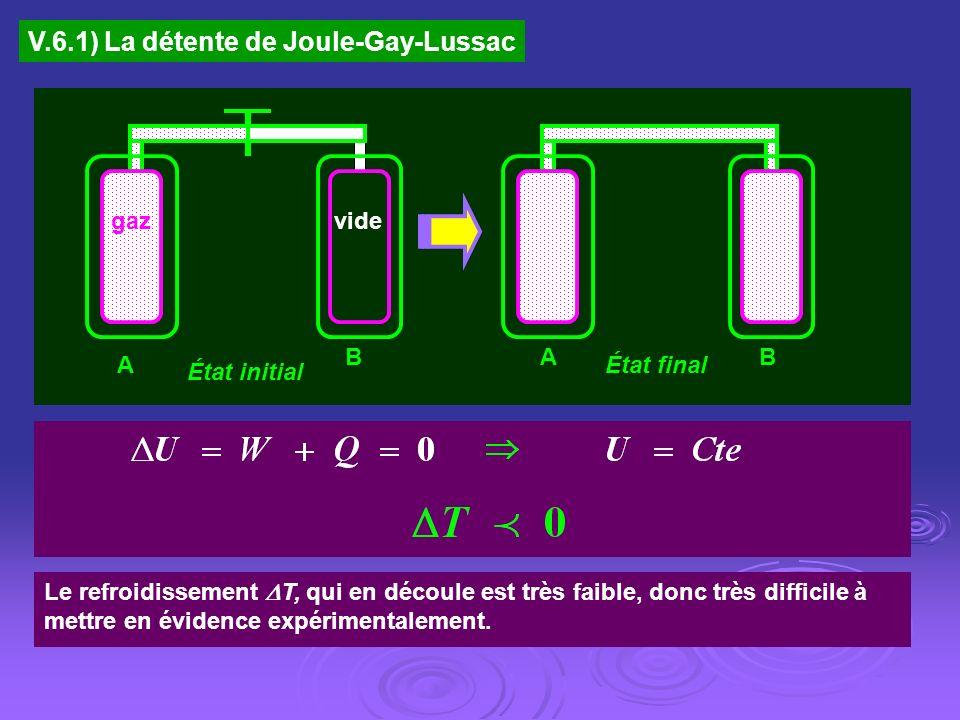 V.6.1) La détente de Joule-Gay-Lussac vide BA A B État initial État final gaz Le refroidissement T, qui en découle est très faible, donc très difficil