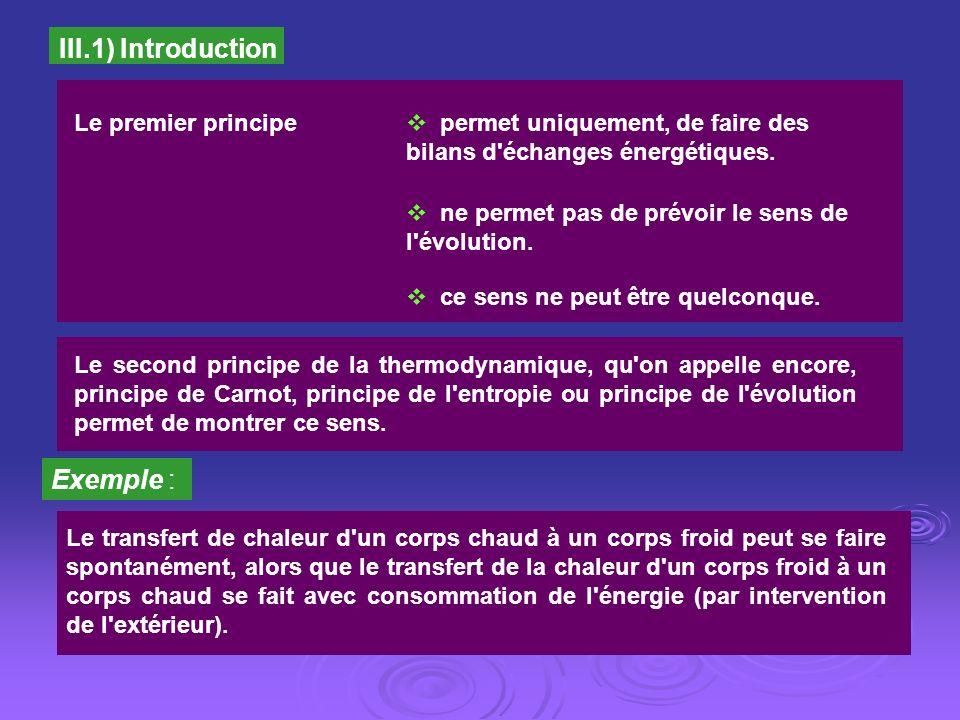III.1) Introduction Le premier principe permet uniquement, de faire des bilans d'échanges énergétiques. ne permet pas de prévoir le sens de l'évolutio