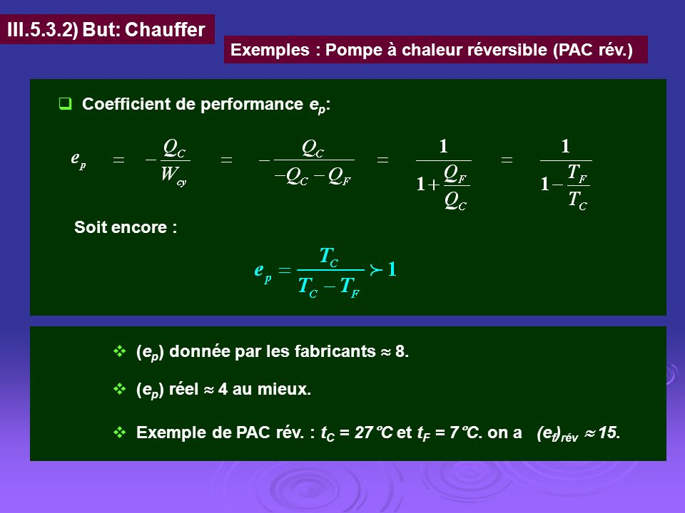 III.5.3.2) But: Chauffer Exemples : Pompe à chaleur réversible (PAC rév.) Coefficient de performance e p : Soit encore : (e p ) donnée par les fabrica