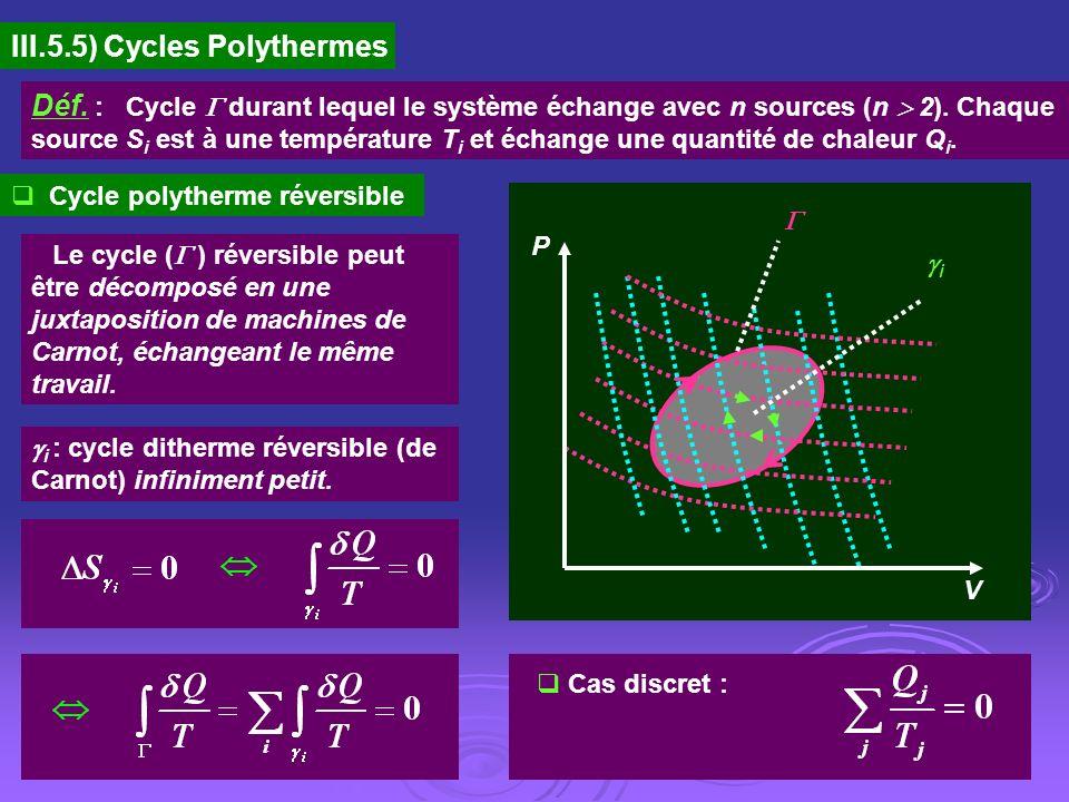 III.5.5) Cycles Polythermes Déf. : Cycle durant lequel le système échange avec n sources (n 2). Chaque source S i est à une température T i et échange