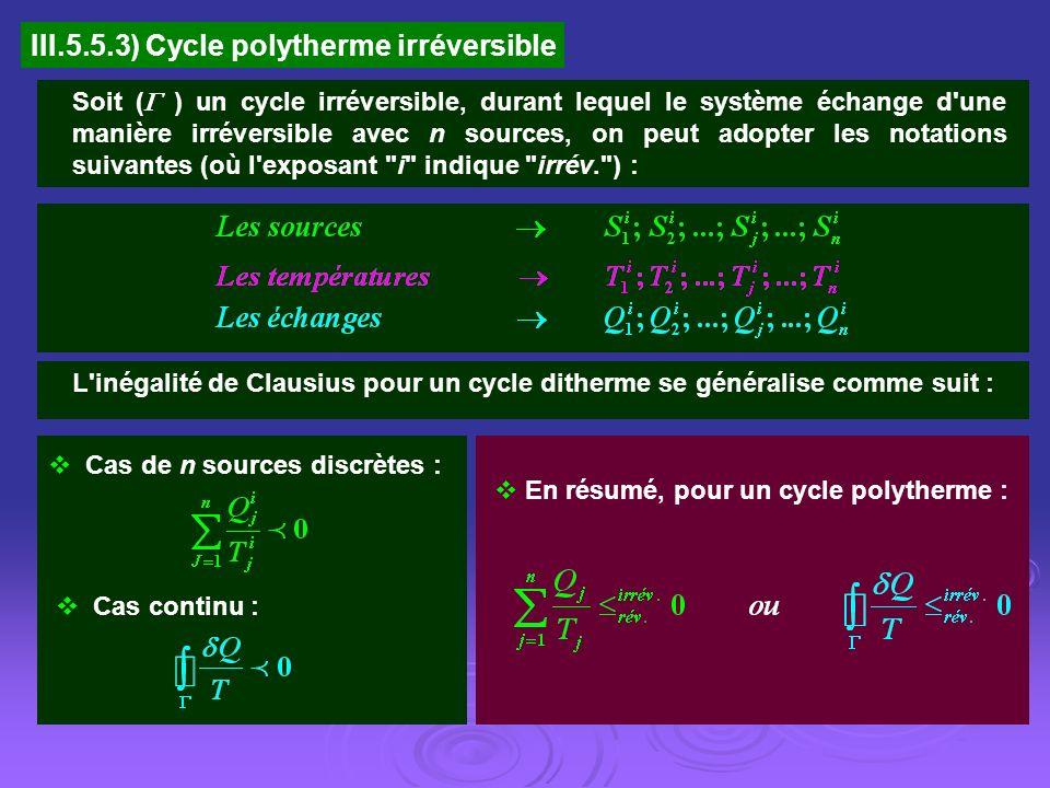 III.5.5.3) Cycle polytherme irréversible Soit ( ) un cycle irréversible, durant lequel le système échange d'une manière irréversible avec n sources, o