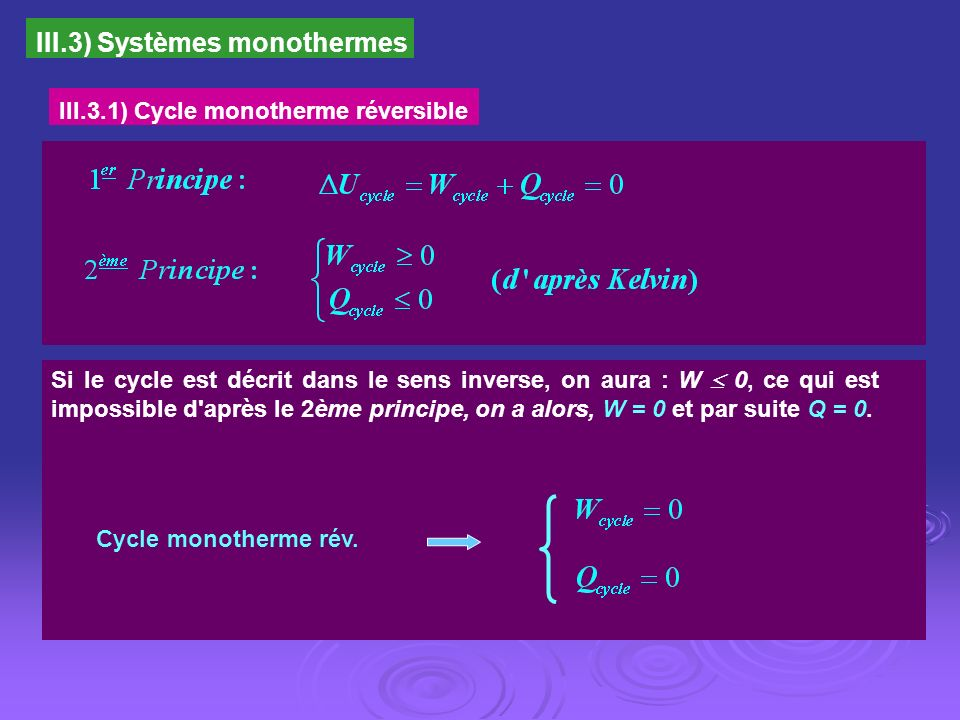 III.3.2) Cycle monotherme irréversible Le cycle monotherme irréversible est donc, nécessairement un cycle récepteur.