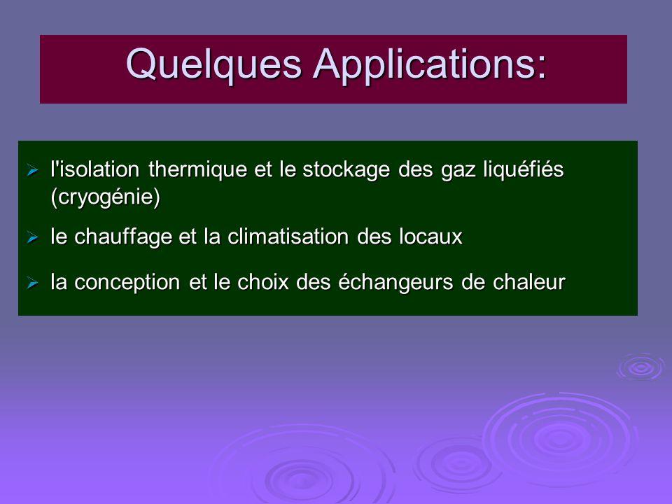 Quelques Applications: l'isolation thermique et le stockage des gaz liquéfiés (cryogénie) l'isolation thermique et le stockage des gaz liquéfiés (cryo