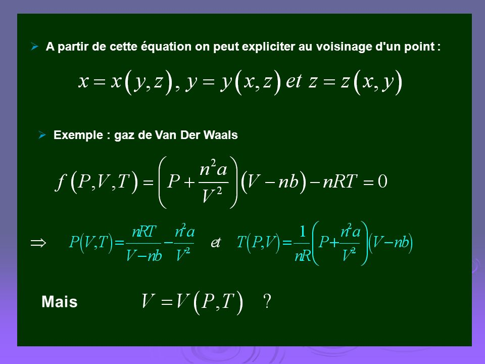 Exemple : gaz de Van Der Waals Mais