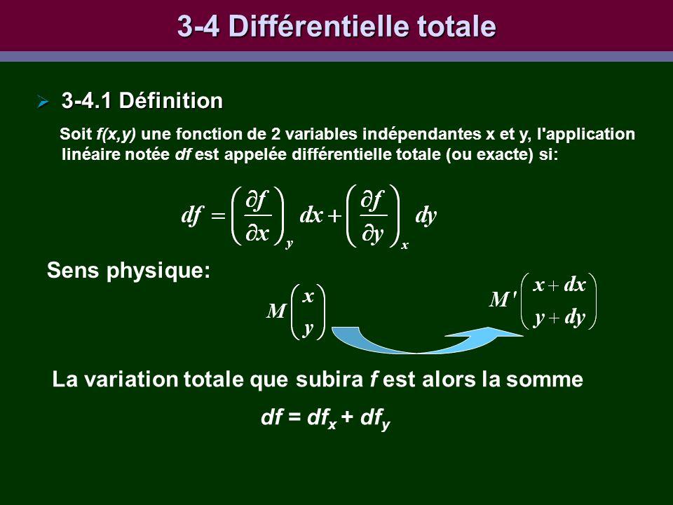 3-4 Différentielle totale 3-4.1 Définition 3-4.1 Définition Soit f(x,y) une fonction de 2 variables indépendantes x et y, l'application linéaire notée