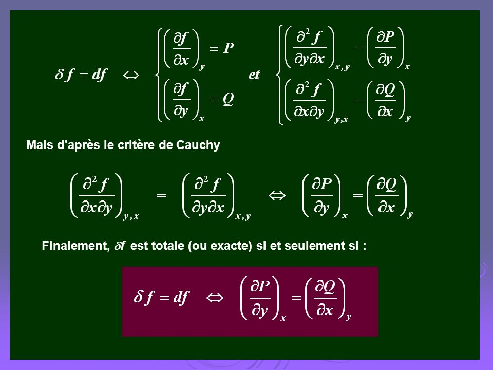 Mais d'après le critère de Cauchy Finalement, f est totale (ou exacte) si et seulement si :