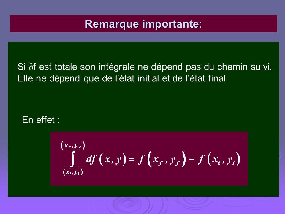Remarque importante: Si f est totale son intégrale ne dépend pas du chemin suivi. Elle ne dépend que de l'état initial et de l'état final. En effet :