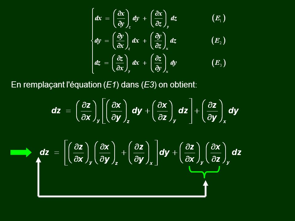En remplaçant l'équation (E1) dans (E3) on obtient :