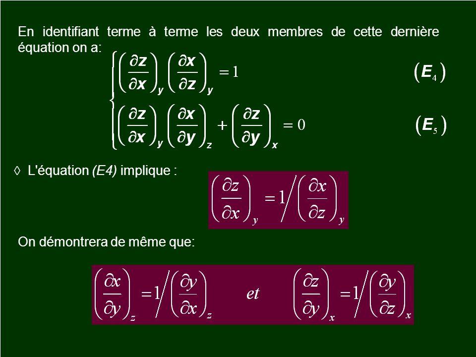 En identifiant terme à terme les deux membres de cette dernière équation on a: L'équation (E4) implique : On démontrera de même que: