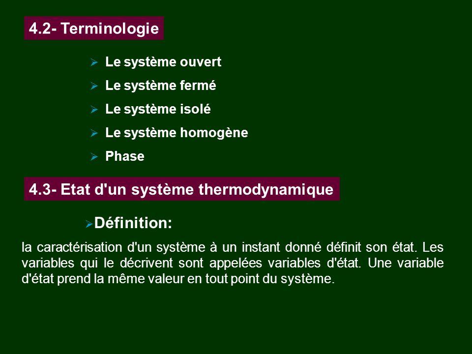 Le système ouvert Le système fermé Le système isolé Le système homogène Phase 4.2- Terminologie 4.3- Etat d'un système thermodynamique Définition: la
