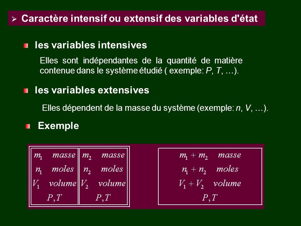 Caractère intensif ou extensif des variables d'état les variables intensives Elles sont indépendantes de la quantité de matière contenue dans le systè