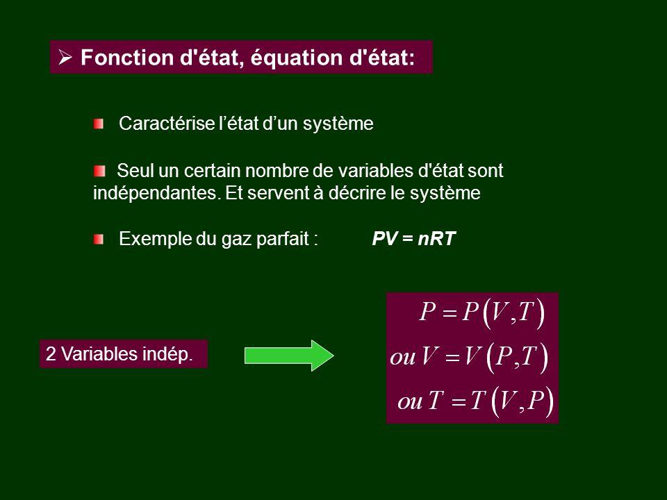 Fonction d'état, équation d'état: Caractérise létat dun système Seul un certain nombre de variables d'état sont indépendantes. Et servent à décrire le
