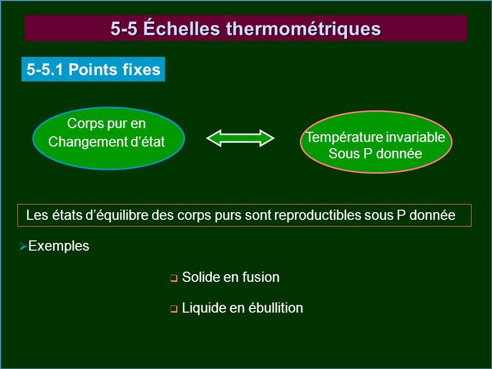5-5 Échelles thermométriques 5-5.1 Points fixes Corps pur en Changement détat Température invariable Sous P donnée Les états déquilibre des corps purs