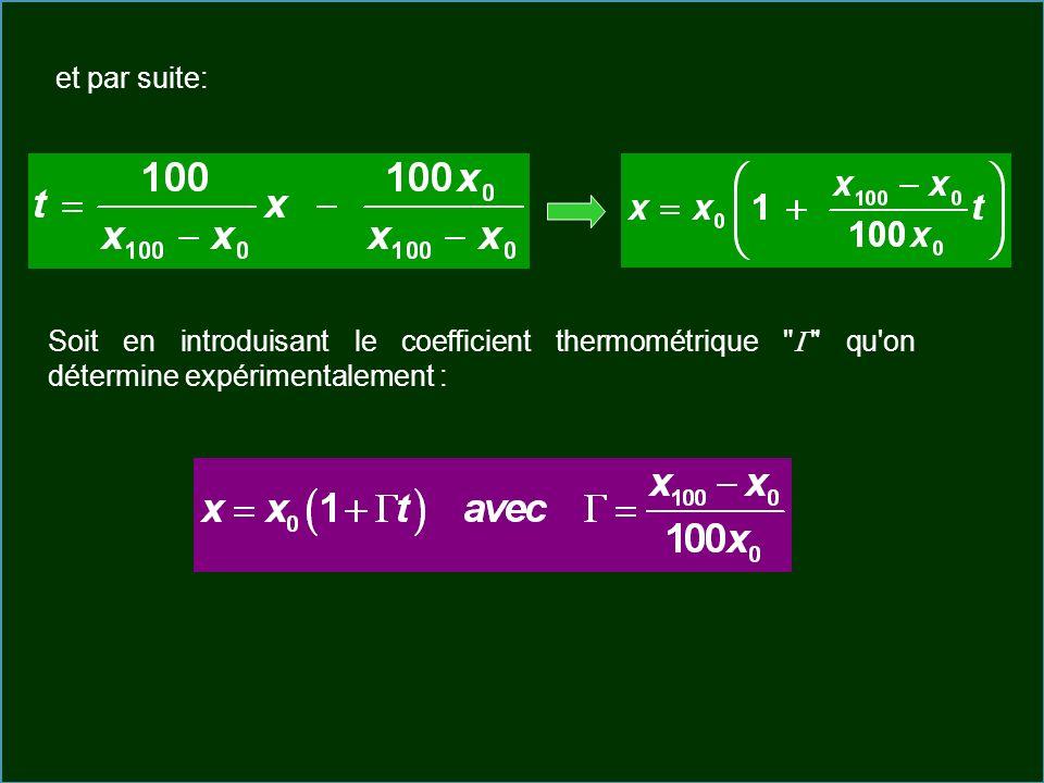 et par suite: Soit en introduisant le coefficient thermométrique