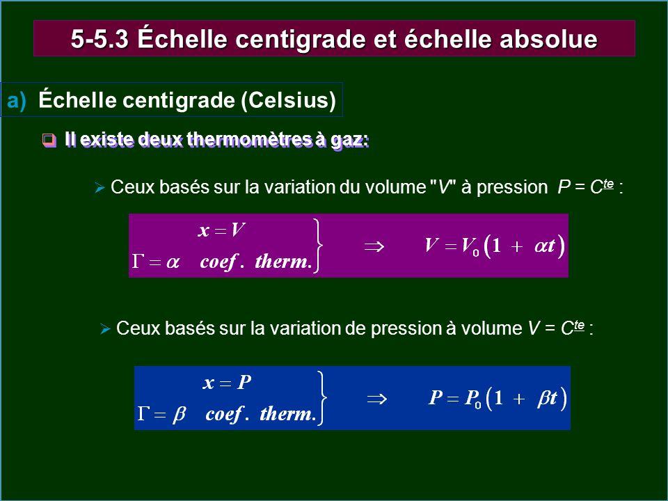 5-5.3 Échelle centigrade et échelle absolue a) Échelle centigrade (Celsius) Il existe deux thermomètres à gaz: Ceux basés sur la variation du volume