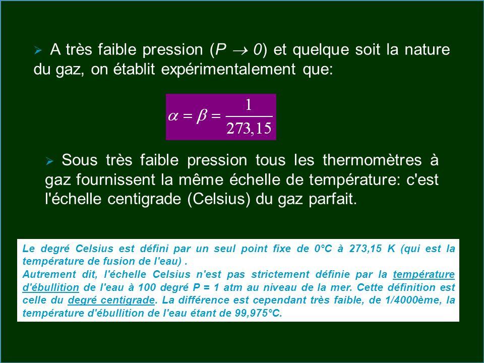 A très faible pression (P 0) et quelque soit la nature du gaz, on établit expérimentalement que: Sous très faible pression tous les thermomètres à gaz