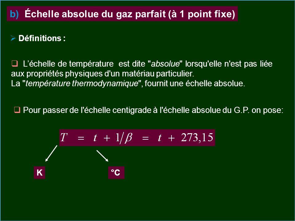 Définitions : b) Échelle absolue du gaz parfait (à 1 point fixe) Pour passer de l'échelle centigrade à l'échelle absolue du G.P. on pose: K°C Léchelle