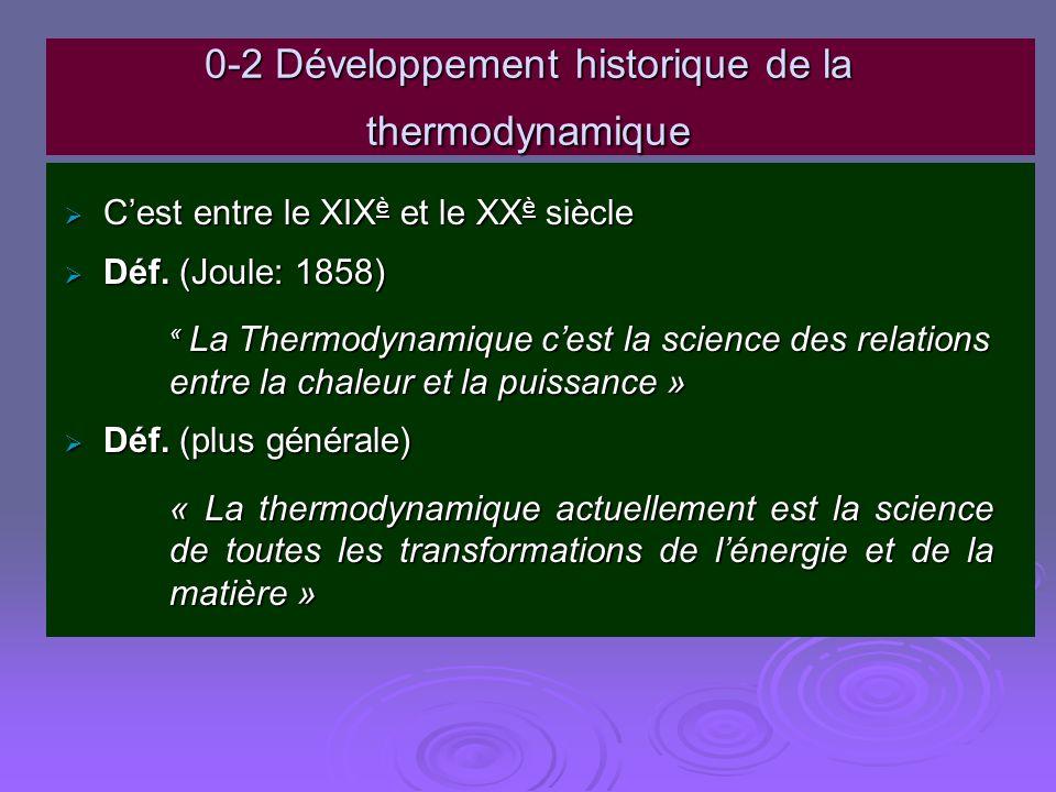 0-2 Développement historique de la thermodynamique Cest entre le XIX è et le XX è siècle Cest entre le XIX è et le XX è siècle Déf. (Joule: 1858) Déf.