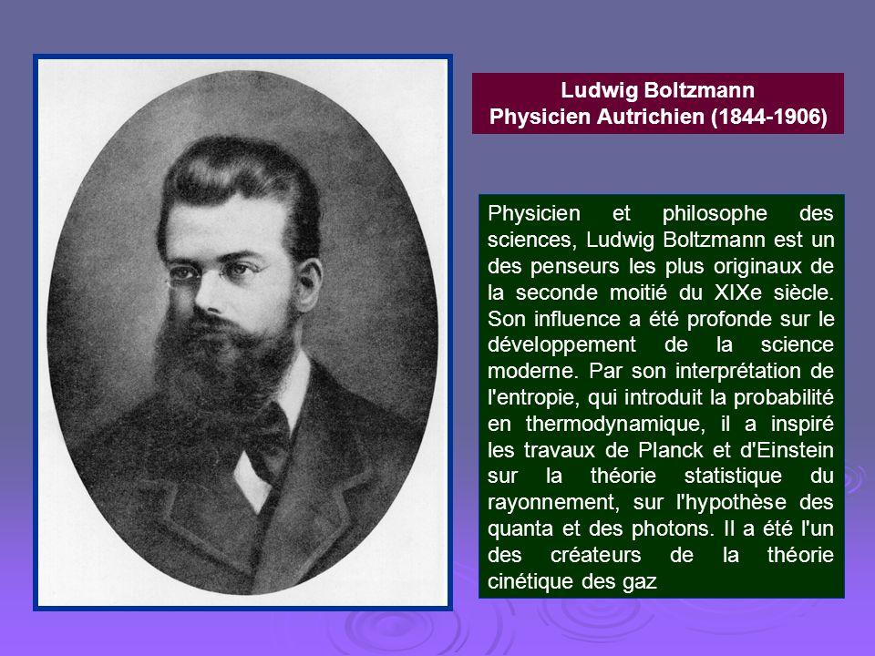 Ludwig Boltzmann Physicien Autrichien (1844-1906) Physicien et philosophe des sciences, Ludwig Boltzmann est un des penseurs les plus originaux de la