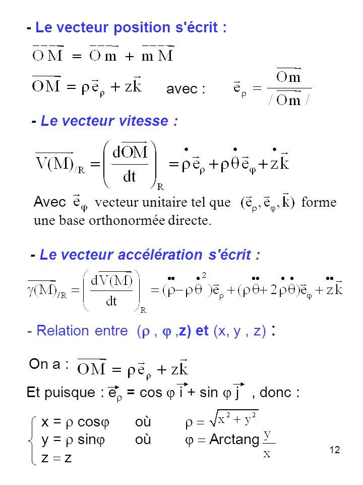 12 - Relation entre (,,z) et (x, y, z) : - Le vecteur vitesse : - Le vecteur accélération s'écrit : - Le vecteur position s'écrit : Et puisque : e = c