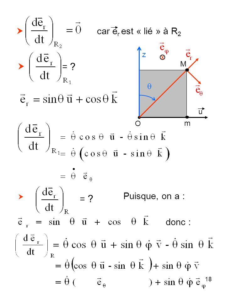 18 car e r est « lié » à R 2 = ? M z O m x u = ? Puisque, on a : donc :