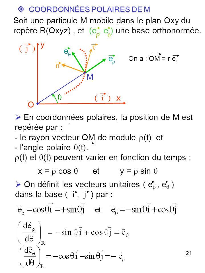 21 COORDONNÉES POLAIRES DE M COORDONNÉES POLAIRES DE M En coordonnées polaires, la position de M est repérée par : - le rayon vecteur OM de module (t)