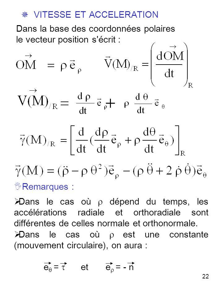 22 Dans la base des coordonnées polaires le vecteur position s écrit : VITESSE ET ACCELERATION Remarques : Dans le cas où dépend du temps, les accélérations radiale et orthoradiale sont différentes de celles normale et orthonormale.