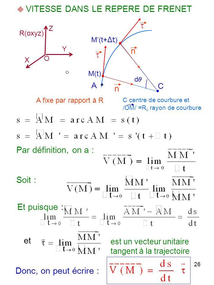26 VITESSE DANS LE REPERE DE FRENET Par définition, on a : Soit : est un vecteur unitaire tangent à la trajectoire A fixe par rapport à R O X Y Z R(ox